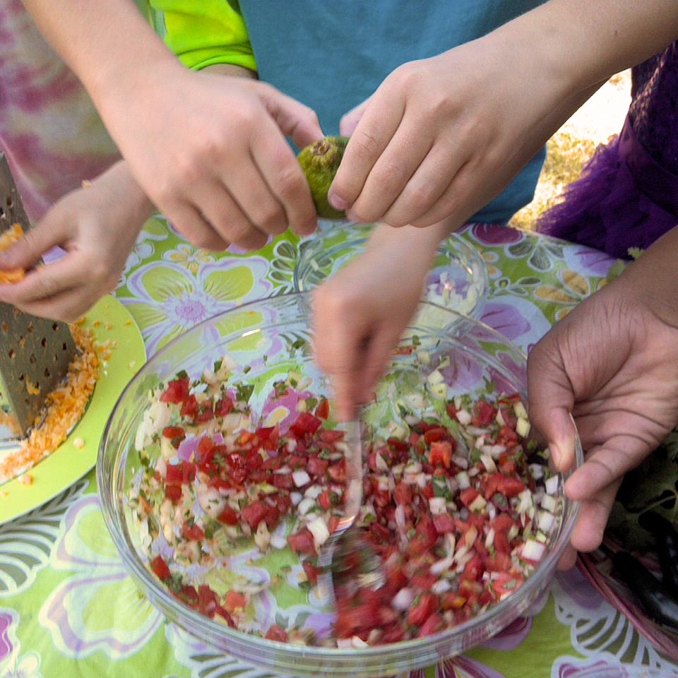 Making Pico de Gallo in the Adventure Kitchen, summer 2014.