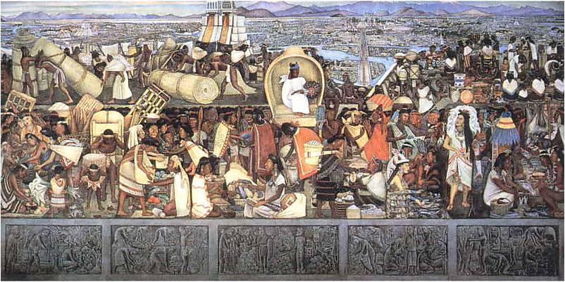 This famous mural by Mexican artist Diego Rivera shows the marketplace at Tenochtitlan as it might have looked when Cortez and his men first arrived.