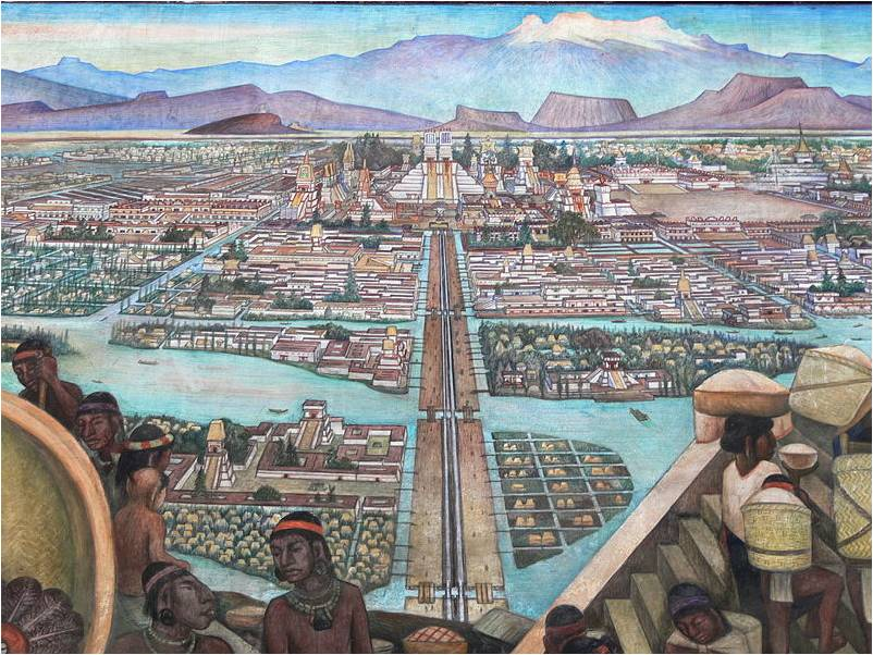 Close-up from the Diego Rivera mural.  Note that the entire city was built on a lake, with floating bridges connecting the islands.  If you look closely at the steps leading from the pyramid-shaped temples, you'll see the blood from human sacrifices cascading down the stairs!