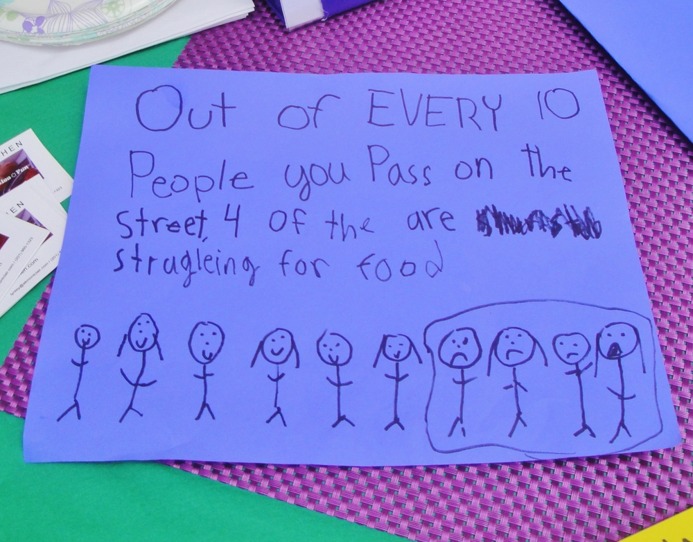 2015 - After Lynley shared the statistics about hunger with our school-aged volunteers, they created signs to explain the issue to our customers.  Great job!