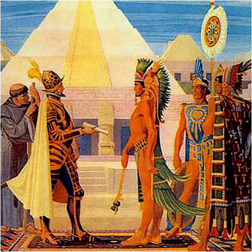 "This painting shows the artist's idea of what it might have been like when Cortez first met Aztec Emperor Montezuma.  The Spaniards wrote that Montezuma walked on ""gold-soled sandals"" and his servants swept the street in front of him as he went!"