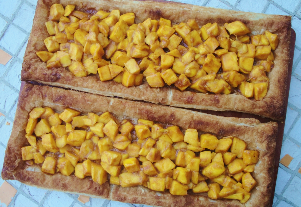 Made into two long rectangular tarts, this will serve 8-12 people, depending on the size of the slices.