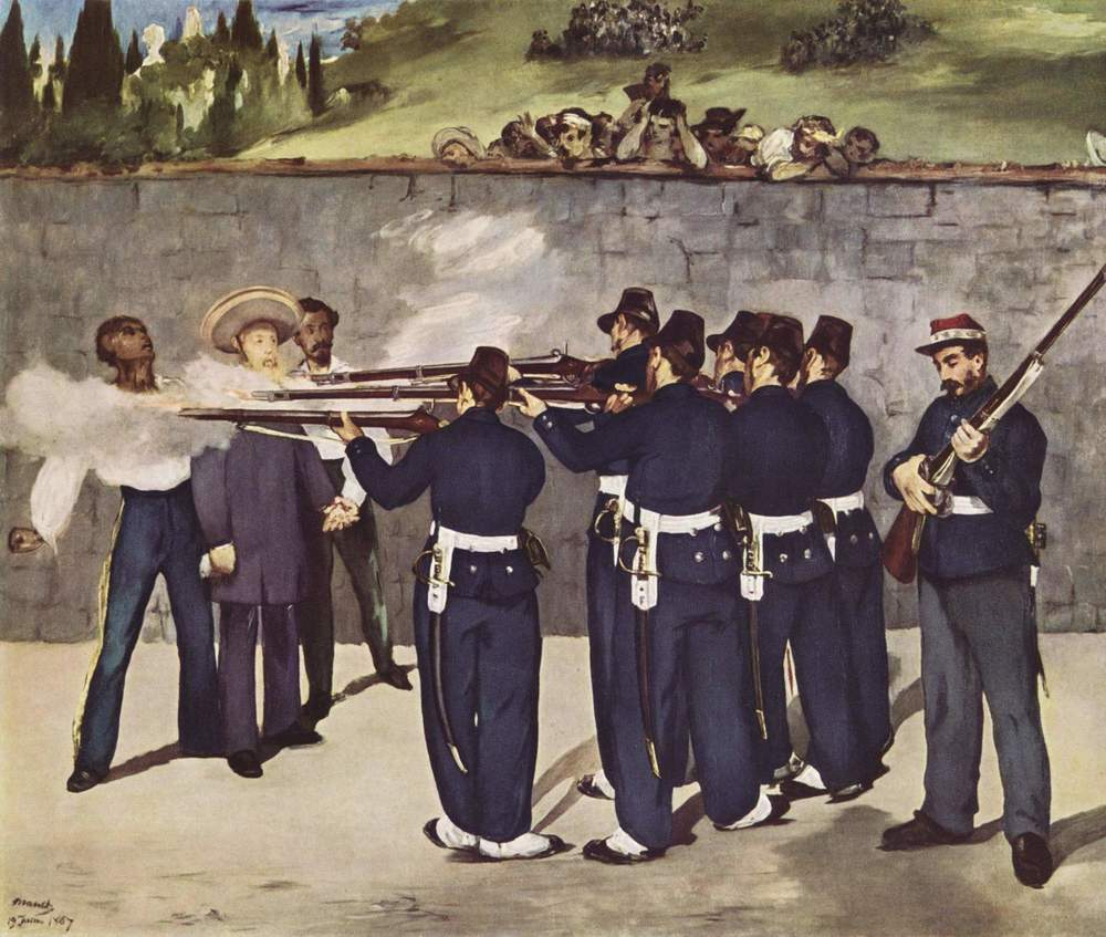 Execution of Emperor Maximilian, by Edouard Manet (1868-1869).   Shows Emperor Maximilian being executed by firing squad alongside his Mexican supporters.