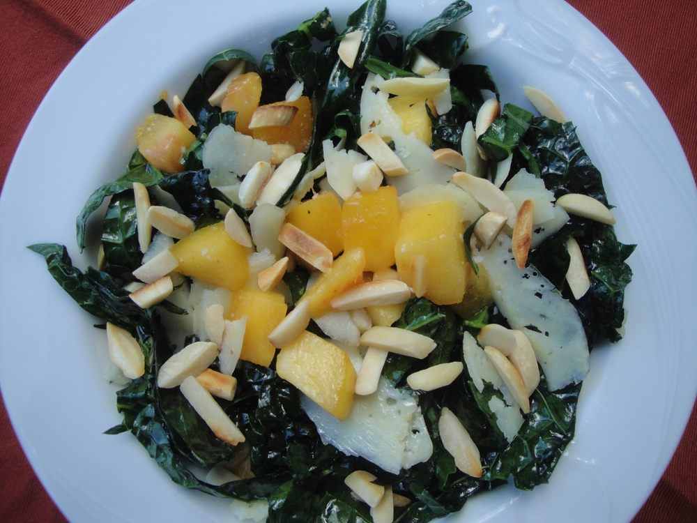 Lemon-Kale Chiffonade Salad with Nectarines , made in the Adventure Kitchen in August 2015