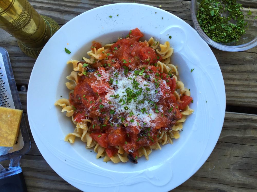 Pasta Puttanesca made in the Adventure Kitchen, October 2015