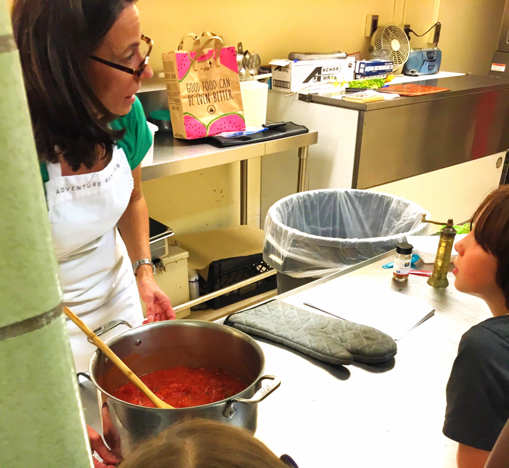 Making Puttanesca Sauce in cooking class, October 2015