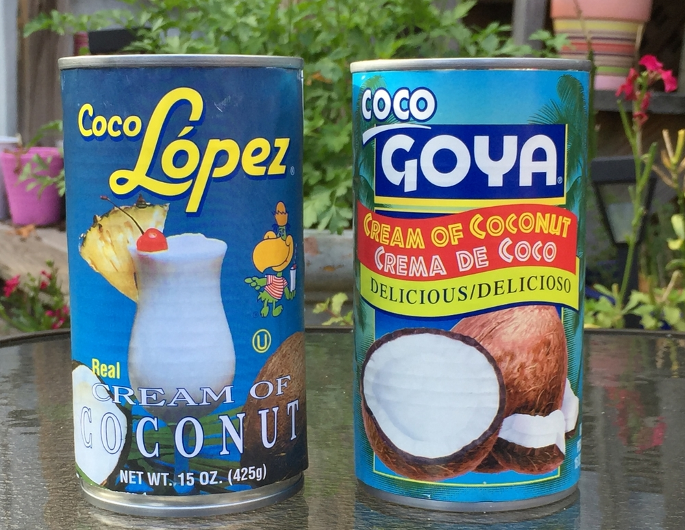 Coco Lopez and Coco Goya, two brands of cream of coconut. We got better results with Coco Lopez.