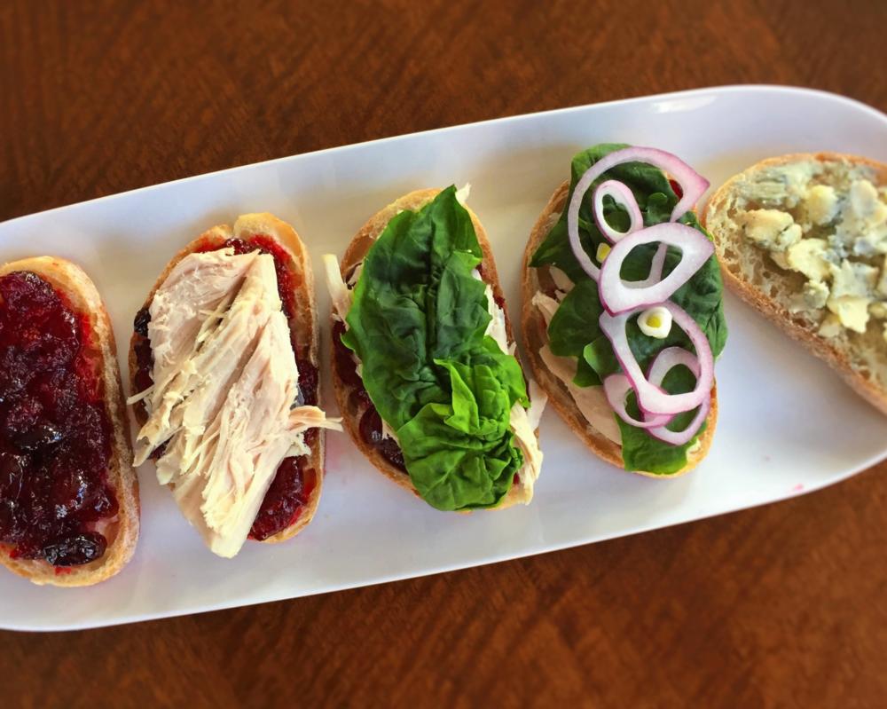 cranberry-bleu turkey sandwiches