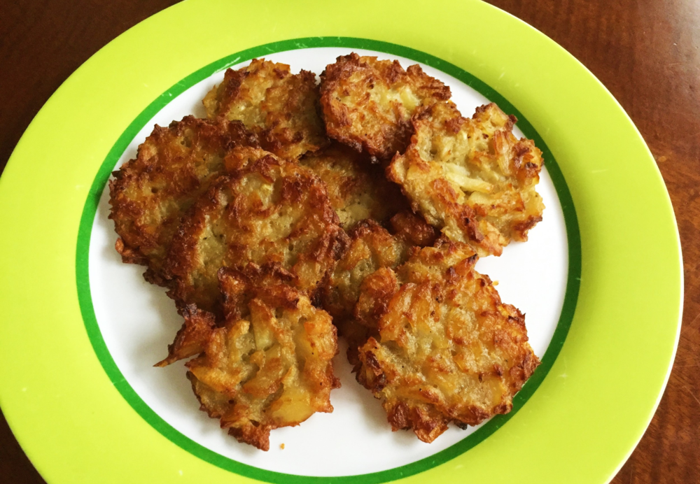 """Our attempt at Deb's Latkes, made in the Adventure Kitchen in December 2015. Deb says, """"This is one of those recipes where the amounts may vary. The level of grating may vary. It's just feel. And love."""""""