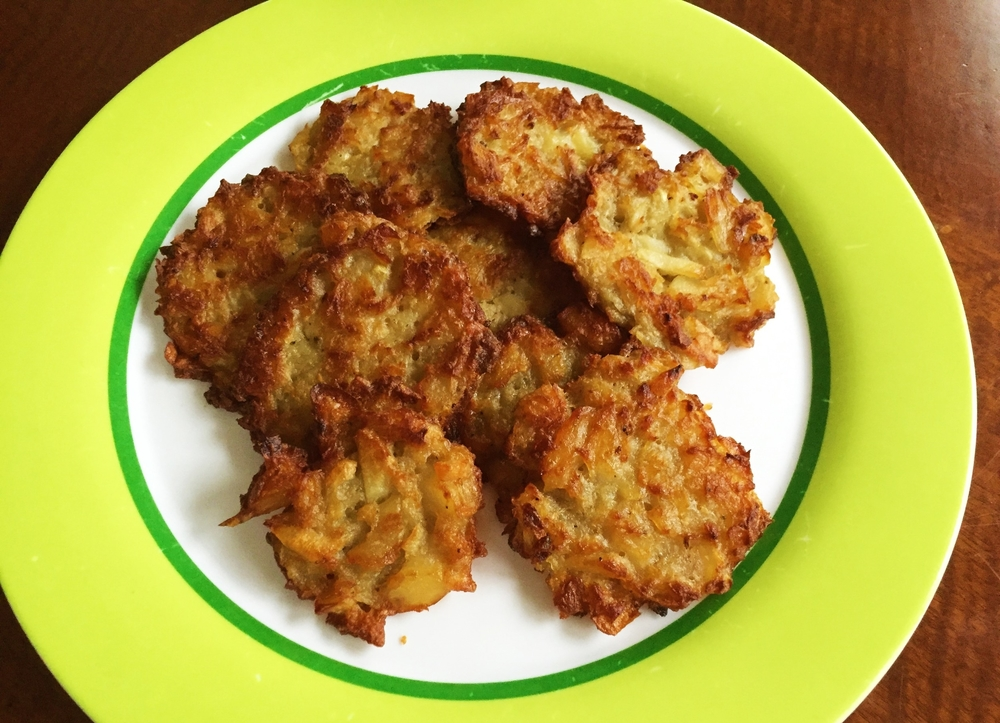 Our attempt at Deb's Latkes, made in the Adventure Kitchen in December 2015.