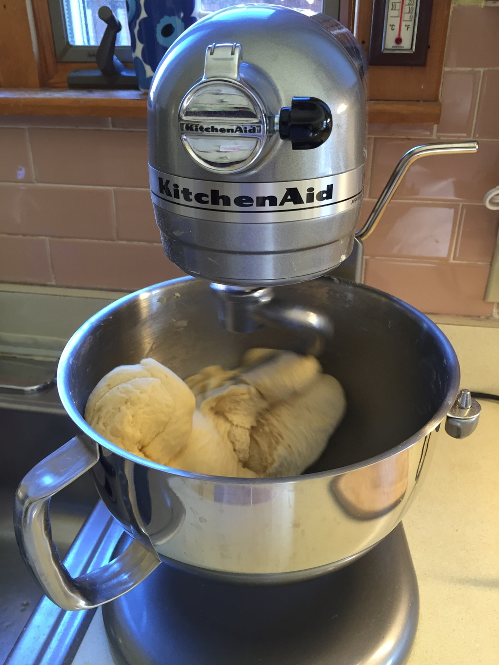 Kneading dough in our stand mixer