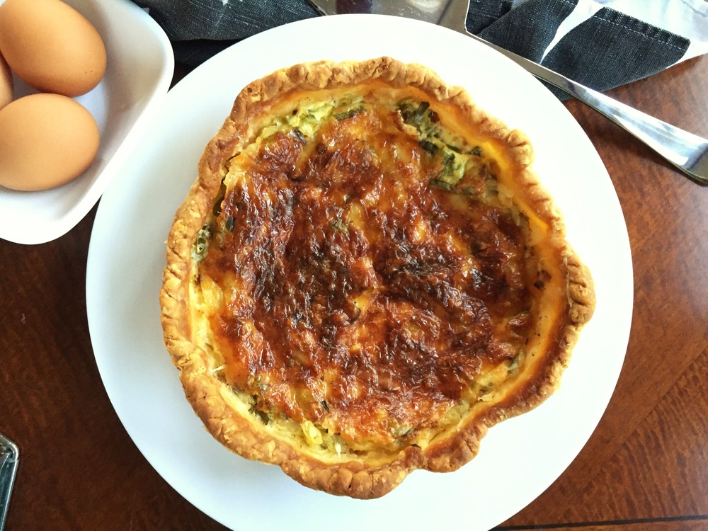 Broccoli Cheddar Quiche  made in the Adventure Kitchen in February 2016.