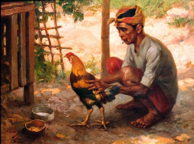 man with a chicken, Fernando Amorsolo