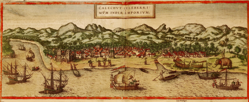 "Calicut 1572   by   Georg Braun and Franz Hogenbergs,   Published in Atlas Civitates Orbis Terrarum, 1572.   This picture shows how the Malabar coast looked to Europeans during the ""Age of Discovery."" Notice all the coconut trees!"