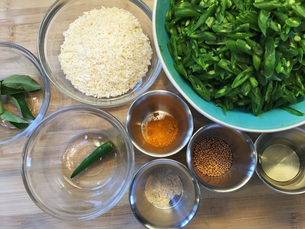 Mise en place (prepped ingredients, at the ready) for South Indian Vegetable Curry. This is the kind of dish where you'll find it helpful to have everything ready before you start to cook.