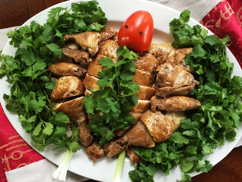 Chinese 5-Flavor Chicken in the traditional Chinese New Year presentation. If you choose a simpler presentation, it's fairly simple make-ahead dish.
