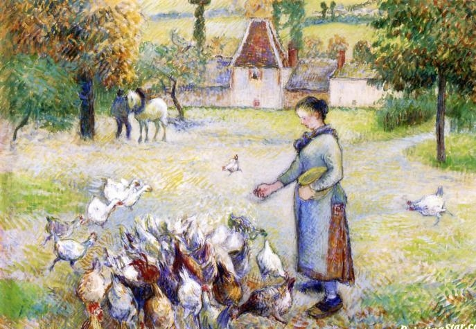 Woman Distributing Grain to the Chickens  by French artist Camille Pissarro, 1886