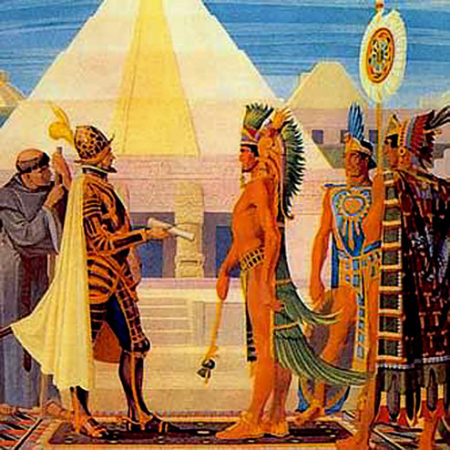 Hernan Cortez meeting Aztec Emperor Montezuma in the capital city of Tenochtitlan.