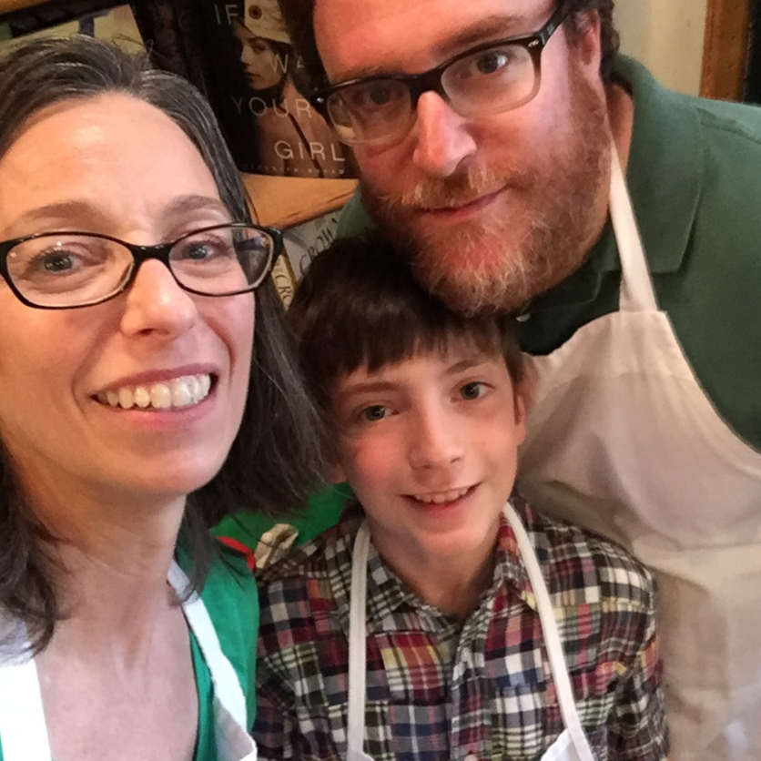 Eleven-year old Nicholas and his dad Rob in a selfie with me at the Why Did the Chicken Cross the Globe? Tasting Event earlier this month. Nicholas' dish Chicken Sabate was featured at the event, and he was there to hand out samples!