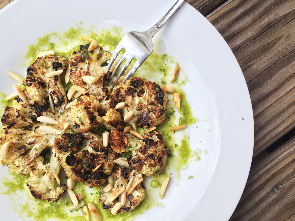 charred cauliflower with brown butter scape sauce