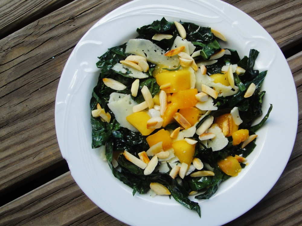 lemon-kale chiffonade with summer fruit