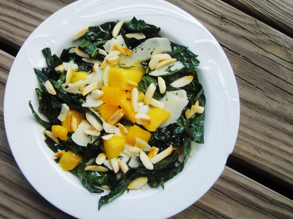 lemon kale chiffonade salad with summer fruit