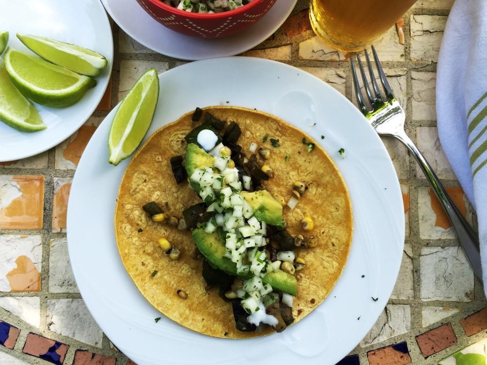 Summer Veggie Tacos made in the Adventure Kitchen