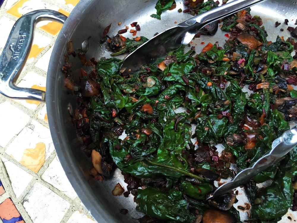 cremini beet greens