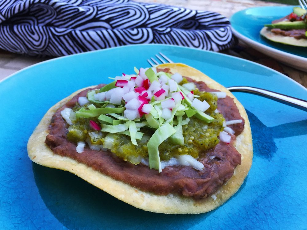 Tostada with Roasted Tomatillo Salsa made in the Adventure Kitchen.