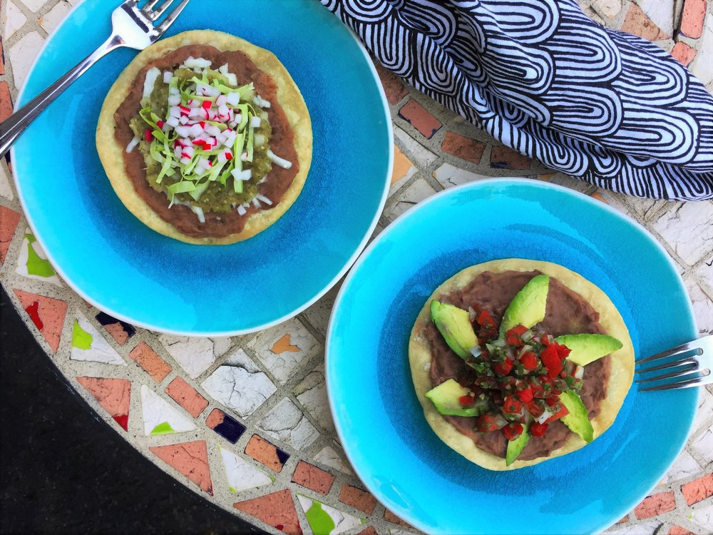 Tostada with Roasted Tomatillo Salsa (left), and Tostada with Avocados and Pico de Gallo (right) in the Adventure Kitchen.