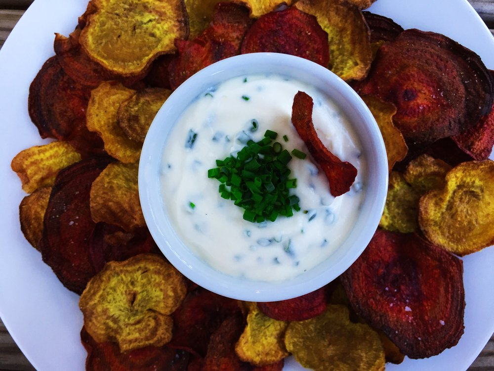 curried beet chips with creamy goat cheese dip