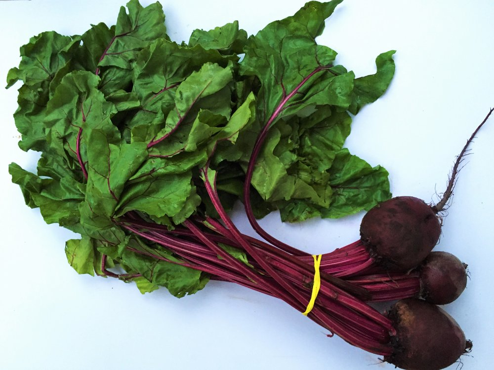 Red beets with greens from my CSA this summer.