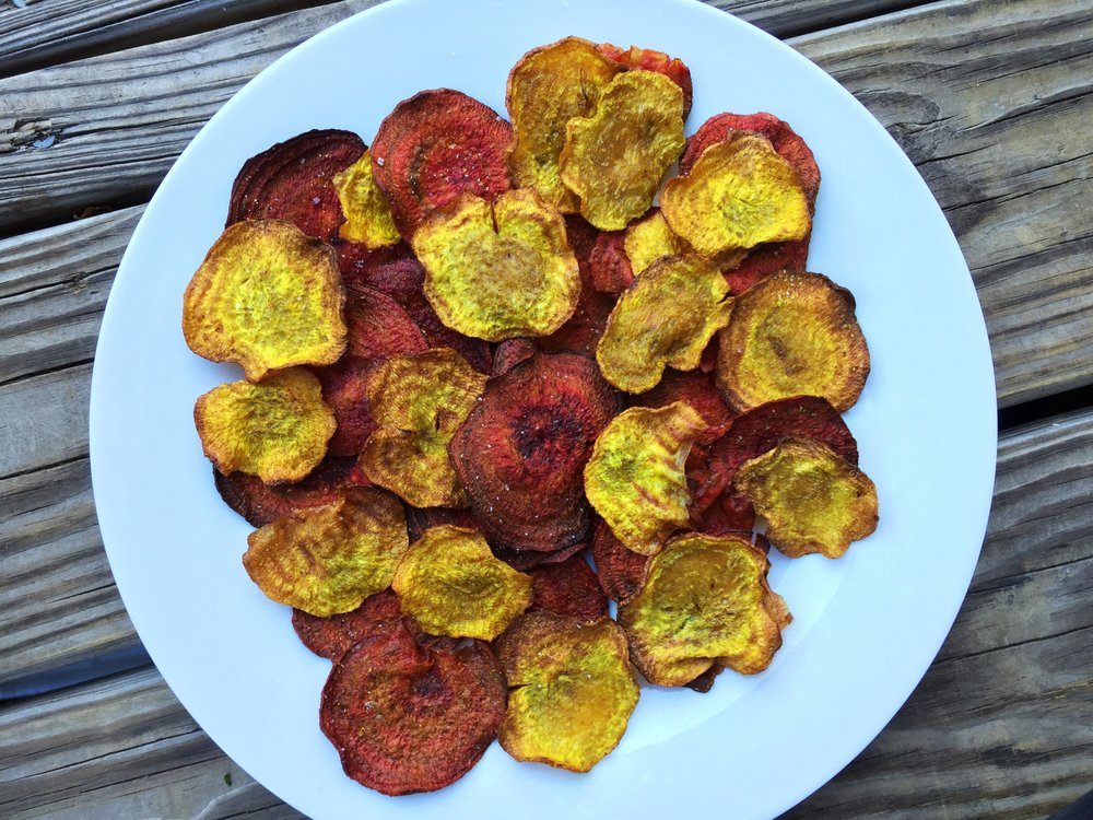 Curried Beet Chips made from red and golden beets in the Adventure Kitchen.