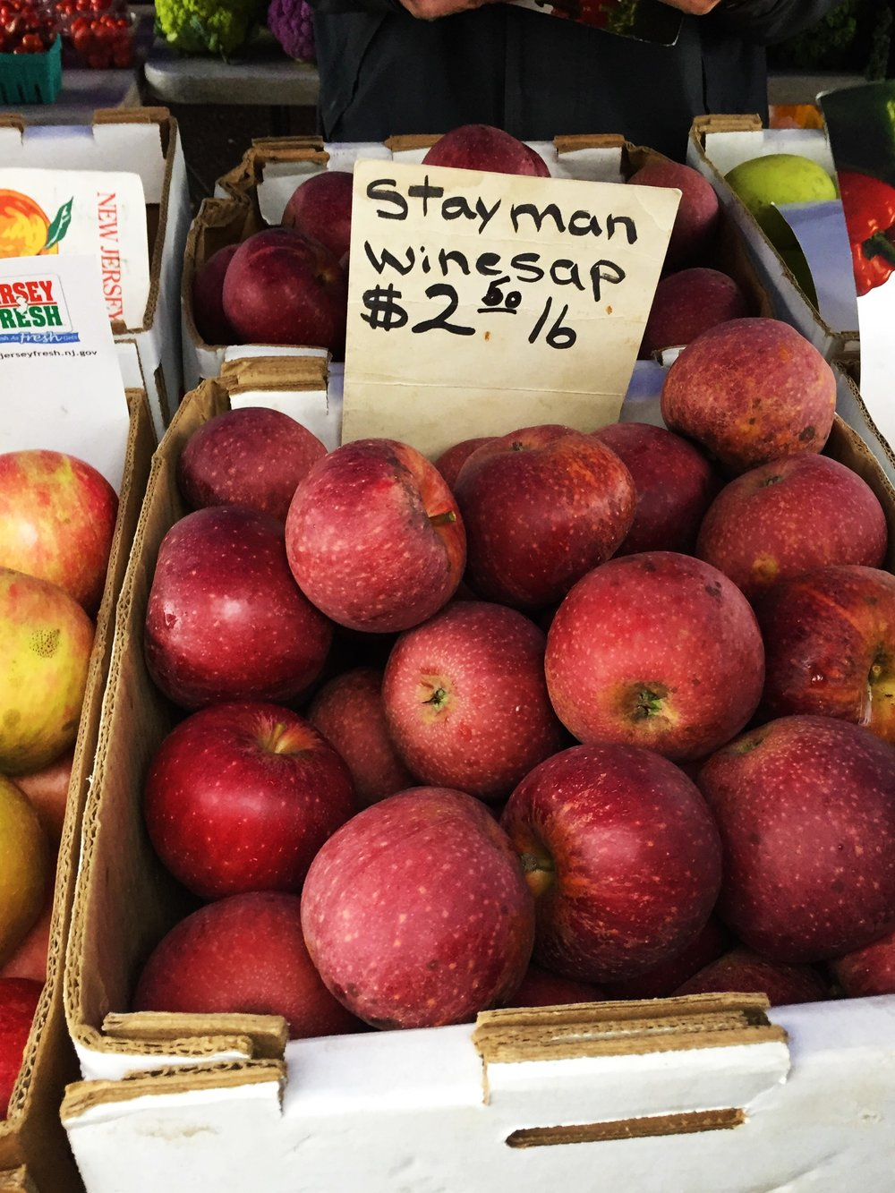 Stayman Winesap apples, an heirloom variety, at the Montclair Farmers' Market.  Winesap and stayman winesap apples are good cooking apples.