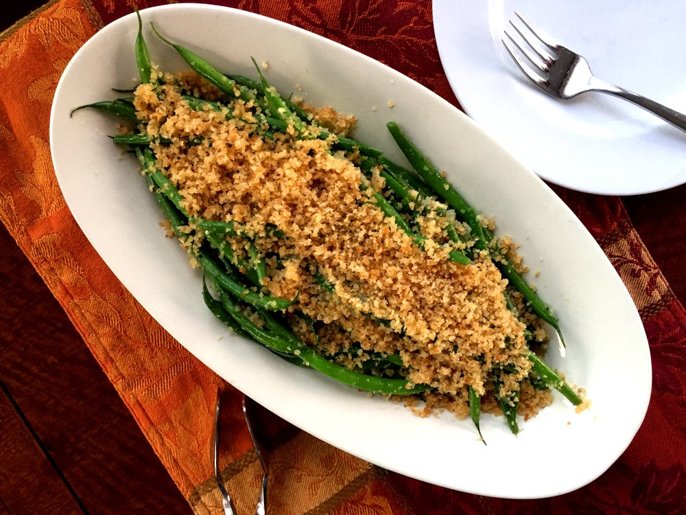French Beans with Toasted Breadcrumbs made in the Adventure Kitchen.
