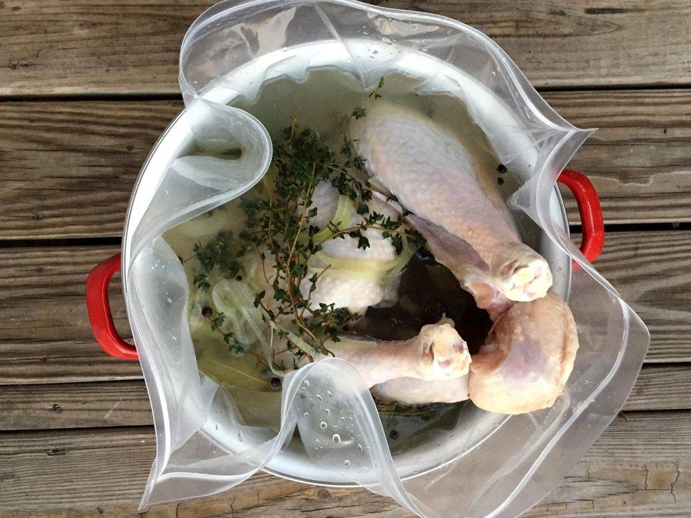 Turkey in brine in the Adventure Kitchen.