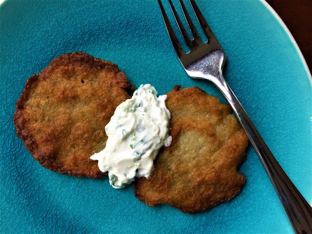 Scallion-Garlic Sour Cream served with Deb's Latkes in the Adventure Kitchen.