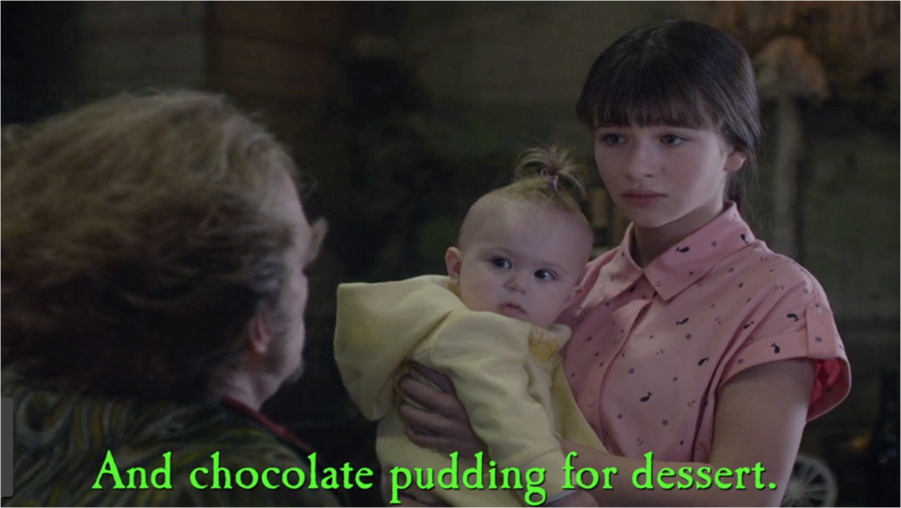 This still image was obtained from the files of the  Netflix  corporation. It demonstrates Sunny's brave stand in favor of chocolate pudding.