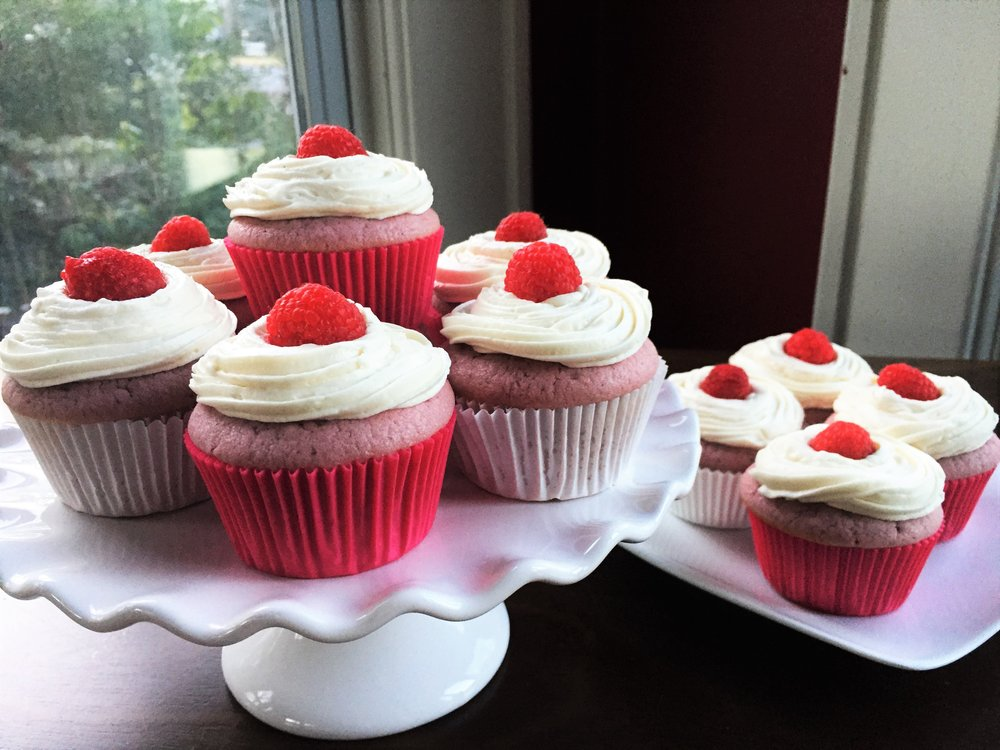 Pink Raspberry Cupcakes with Lemony-Basil Buttercream Frosting