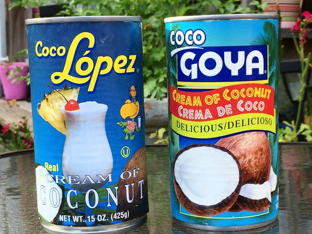 Coco Lopez and Coco Goya cream of coconut in the Adventure Kitchen. To produce a cake as creamy and magnificent as Uncle Monty's, you should use Coco Lopez.