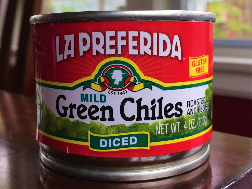 These are the green chiles I used, from my local Whole Foods market (the recipe calls for two of these cans). Any brand of mild diced green chiles should work fine here, or you can roast your own (see notes).