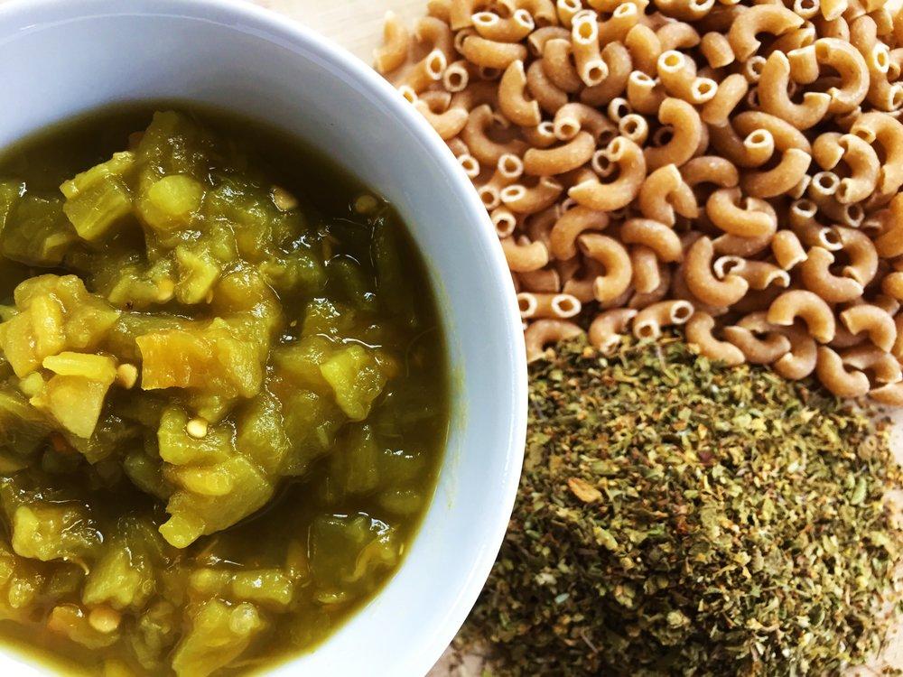 Green chiles, pasta and Mexican oregano