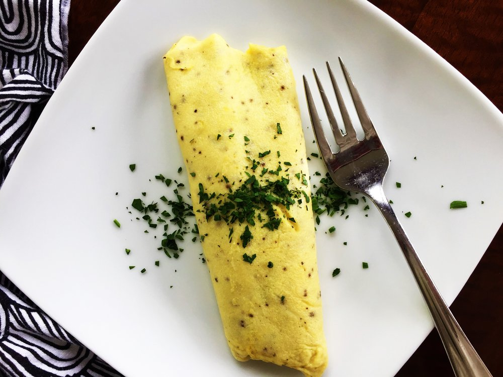 Classic - and best! - omelette, made in the Adventure Kitchen.