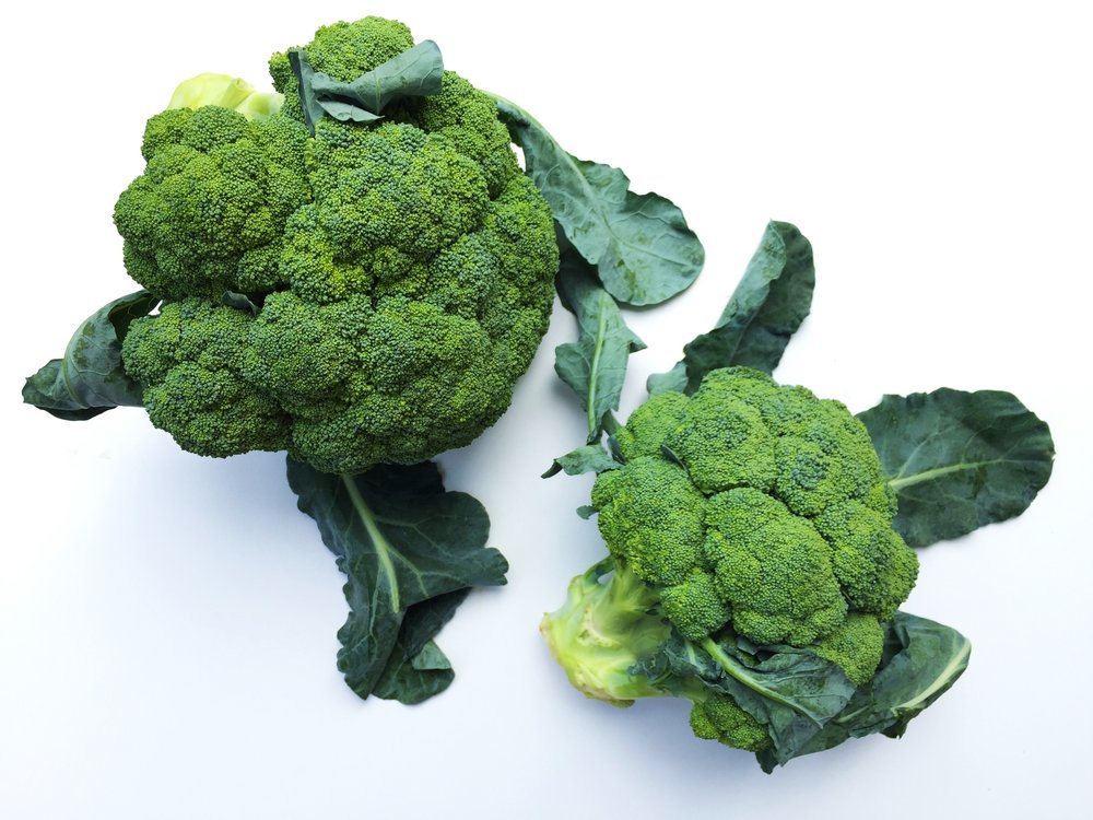 Heads of broccoli with some leaves attached.