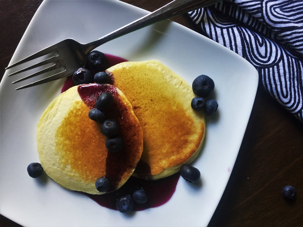 Lemon-Blueberry Syrup on pancakes made in the Adventure Kitchen.