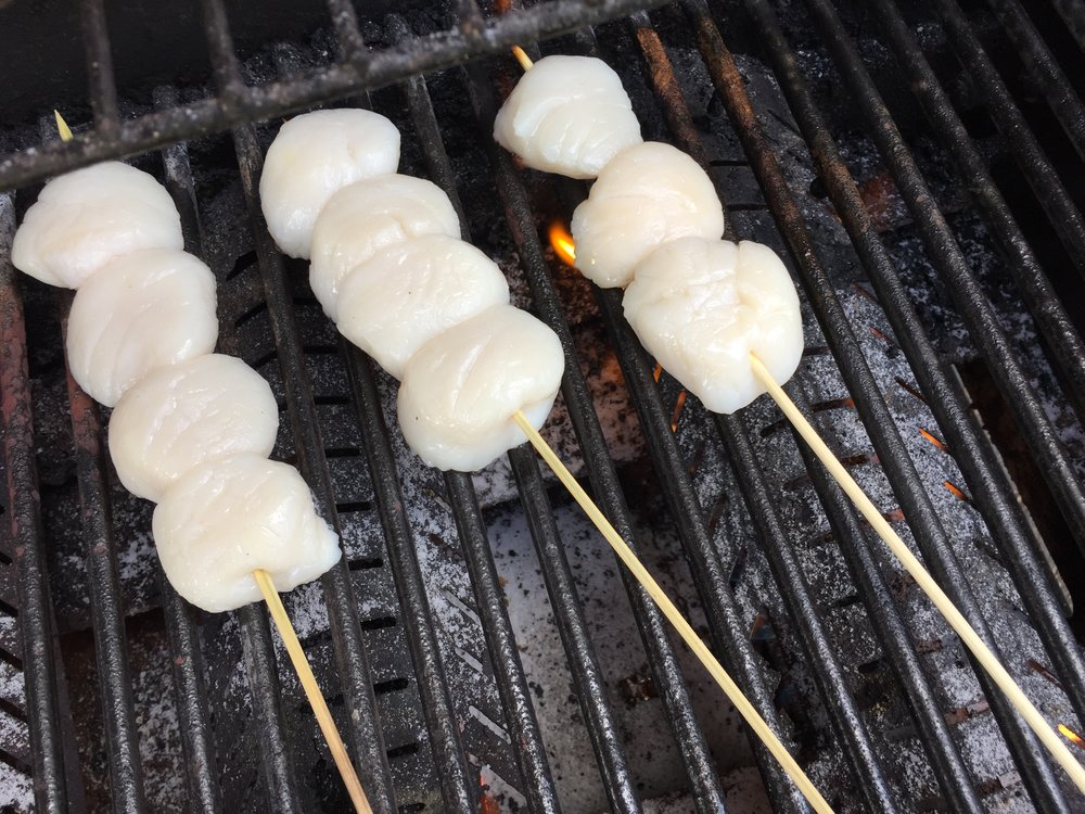 Scallops on the grill in the Adventure Kitchen.