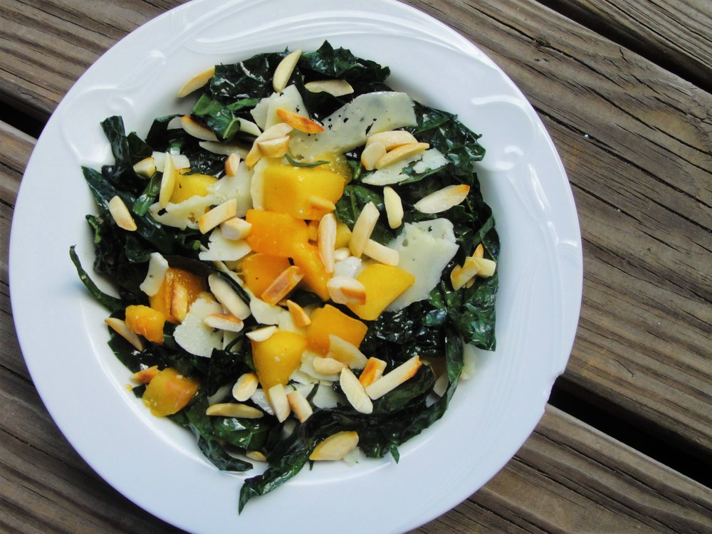 Lemon-Kale Chiffonade Salad with Nectarines, made in the Adventure Kitchen