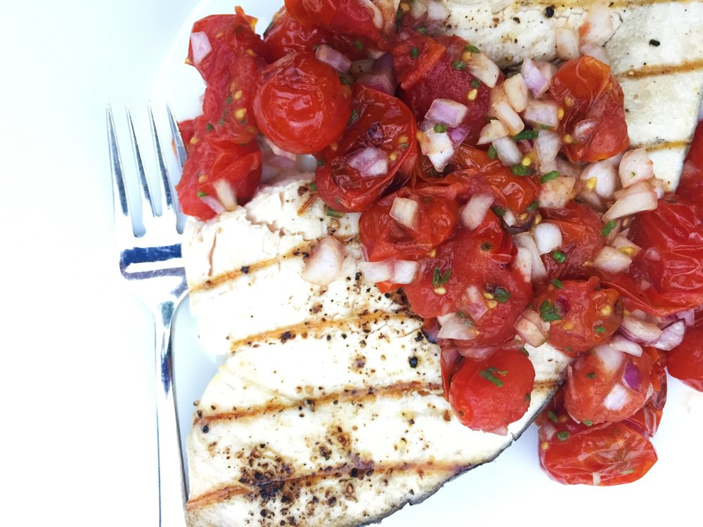 Grilled Swordfish with Blistered Grape Tomatoes and Sea Beans made in the Adventure Kitchen.