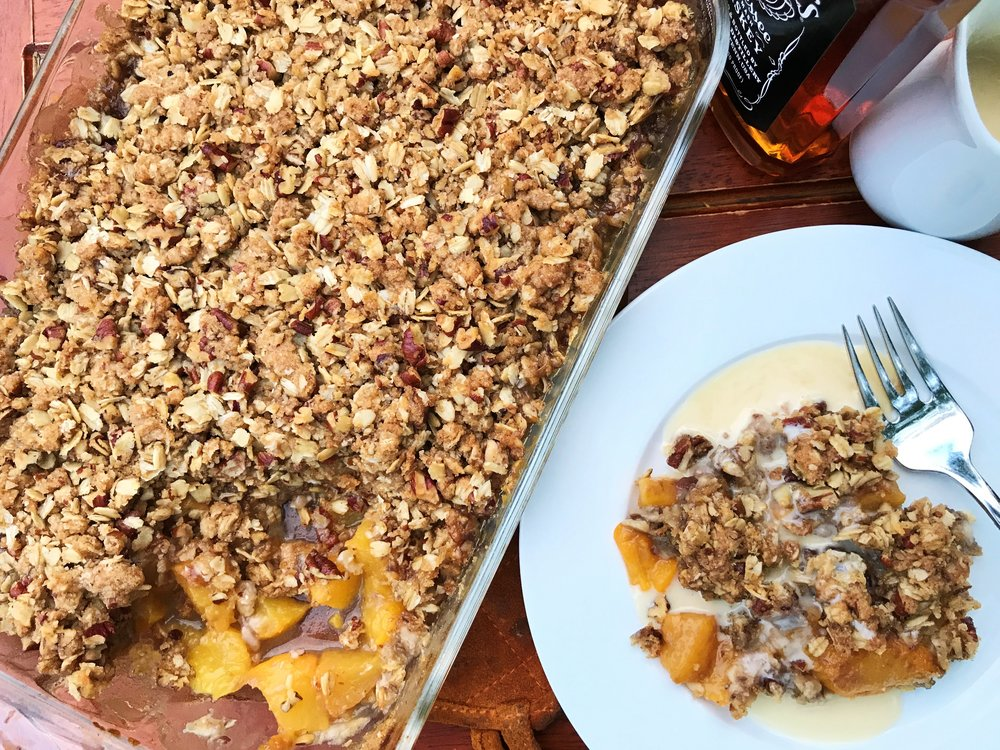 Peach-Pecan Crumble with Whiskey Cream, made in the Adventure Kitchen.