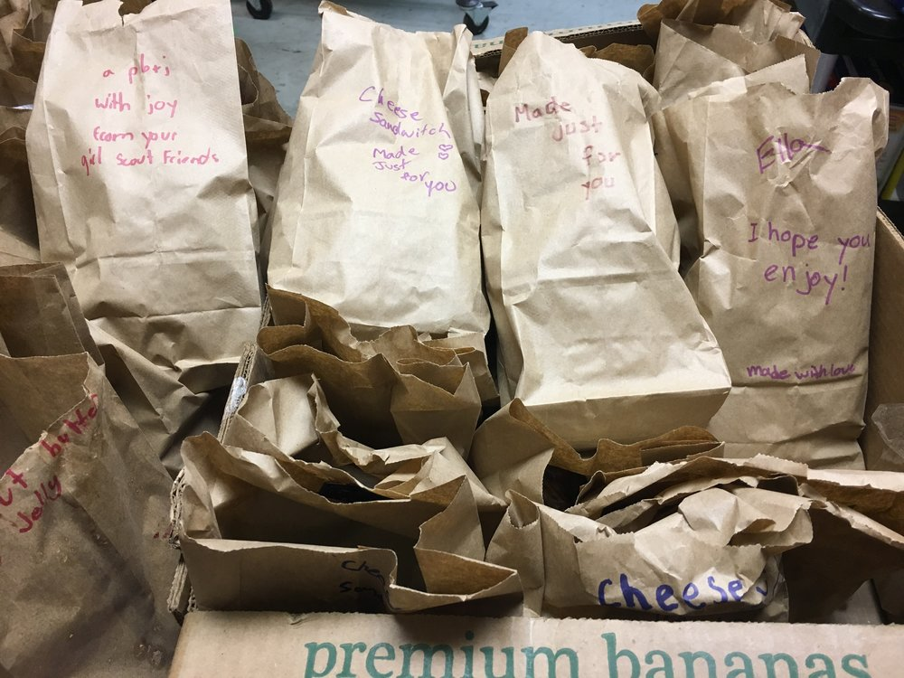 Some of the sandwich bags with messages from our scouts.